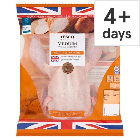 Tesco British Whole Medium Chicken 1.3-1.5Kg - £2.50 (Clubcard Price) @ Tesco