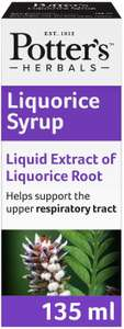 Potter's Herbals Liquorice Syrup | 135 ml bottle Helps Support The Upper Respiratory Tract £1.33 (£4.49 p&p non prime) @ Amazon