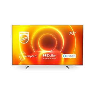 Philips Ambilight 2021 70PUS7855/12 70-Inch LED TV 4K UHD 10+ HDR Alexa Assistant Built in Freeview Saphi Smart TV £739 @ Amazon