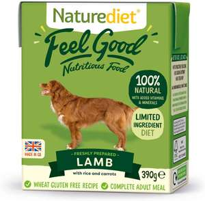 Naturediet - Feel good wet dog food, Lamb pack of 18 £9.76 / £8.78 or less with s&s (+£4.49 Non Prime) @ Amazon