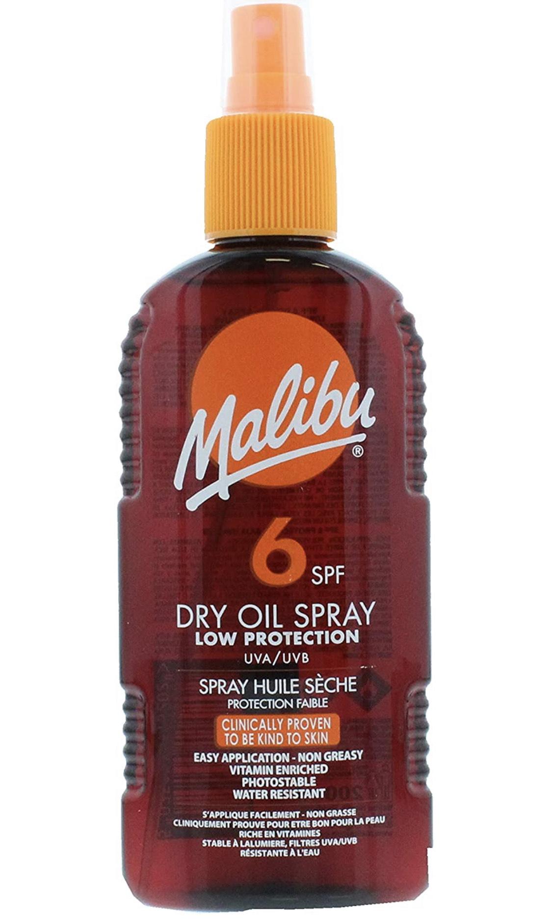 Malibu Low Protection Water Resistant Non-Greasy Dry Oil Sun Spray SPF 6, 200ml £2.50 (+£4.49 Non Prime) @ Amazon