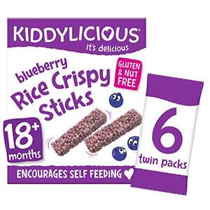 Kiddylicious Blueberry Rice Crispy Sticks   Tasty Snacks for Children   Suitable for 18+ Month   4 x 6 Packs - £2.75 (+£4.49 NP) @ Amazon