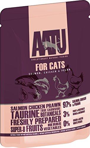 AATU 97/3 Wet Cat Food, Salmon, Chicken and Prawn, No Artificial Ingredients, Grain Free Recipe - 10 x 85 g - £5.53 (+£4.49 NP) @ Amazon
