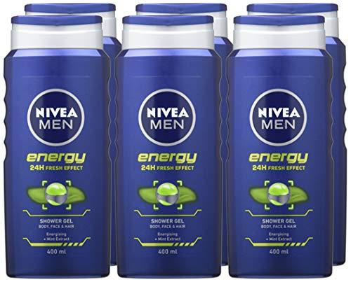 NIVEA MEN Shower Gel Energy/Sensitive (6 x 400ml LARGE Bottles) - From £8.94 (£4.49 non Prime) @ Amazon