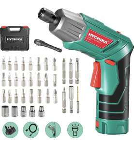 HYCHIKA Cordless Electric Screwdriver 2000 mAh with 36 accessories plus light £13.49 @ Sold by JJmouse_toolkit and Fulfilled by Amazon.