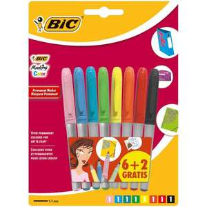 BIC Marking Permanent Markers Fine Tip Assorted Intense & Pastel Colours 6+2 Pack £1.32 (Prime) + £4.49 (non Prime) at Amazon
