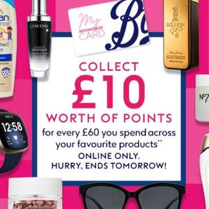 Collect £10 worth of Points for Every £60 You Spend @ Boots