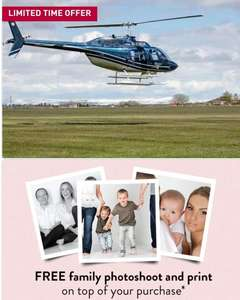 6 Mile Blue Skies Helicopter Tour with Bubbly for Two Now £59 plus get a free family photoshoot @ Buyagift