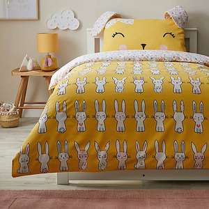 Floral Bunny Yellow Reversible Duvet Cover and Pillowcase Set - Cot Bed £10 / Single £11 Using Click & Collect @ Dunlem