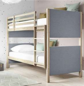 Morgan Upholstered Bunk Bed In Grey And Natural Wood - £149.97 from Furniture123 with free collection from Leeds or M1 J28 (£14.99 delivery)