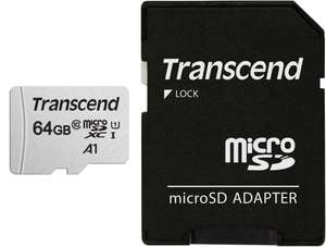 Transcend 64GB microSDXC 300S Memory Card with adapter, Class 10, U1, 95MB/s Eco packaging for £5.17 (+£4.49 Non Prime) delivered @ Amazon