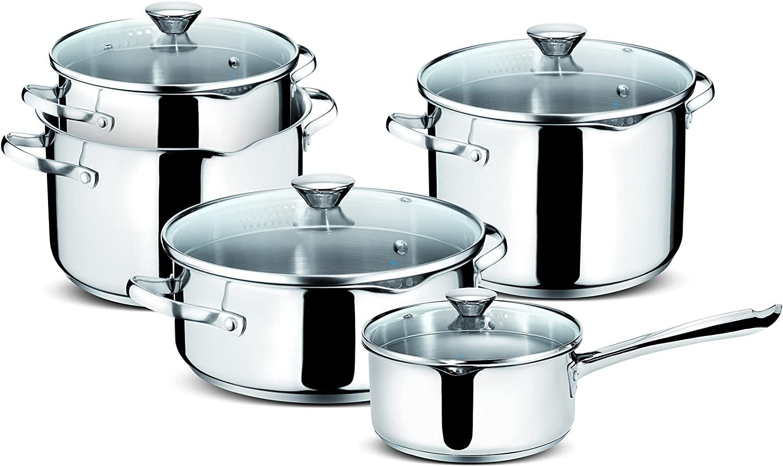 Lagostina Smart Set of Saucepans in Stainless Steel, 9 Pieces - Italian brand | 10 year guarantee - £27.73 @ Amazon