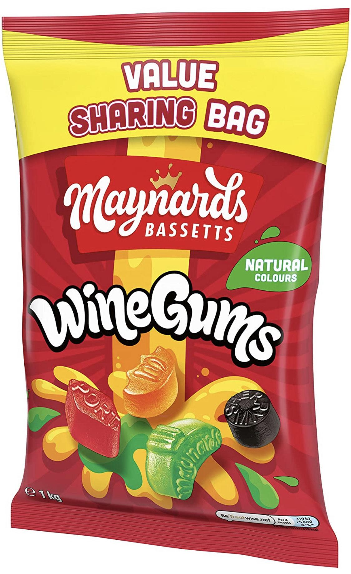 Maynards Bassetts Wine Gums Giant Sweets Sharing Bag 1 kg - £5 (+£4.49 Non Prime) at Amazon