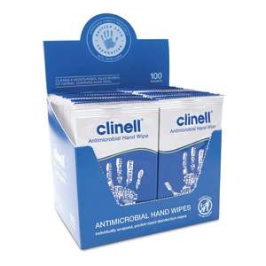 Clinell Antimicrobial Hand Wipes Ideal for Travel - Pack of 100 Sachets - £3.93 (+£4.49 Non Prime) @ Amazon