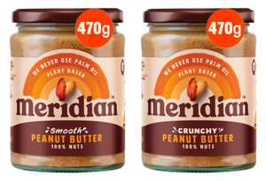 Meridian Smooth or Crunchy Peanut Butter 470g for £2.50 @ Asda
