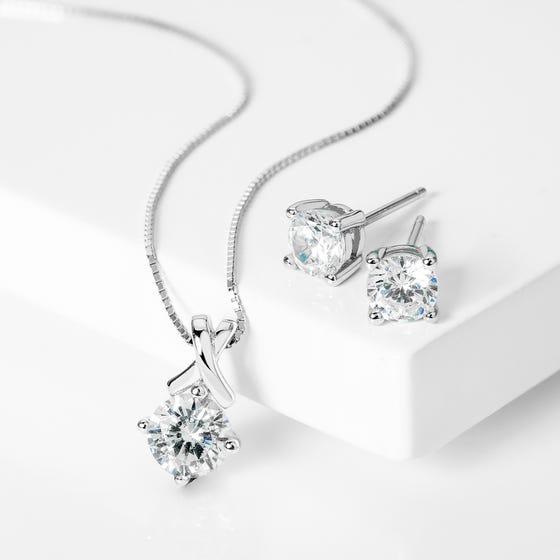 Premium Sterling Silver CZ Four Claw Jewellery Set £11.99 @ John Greed Jewellery
