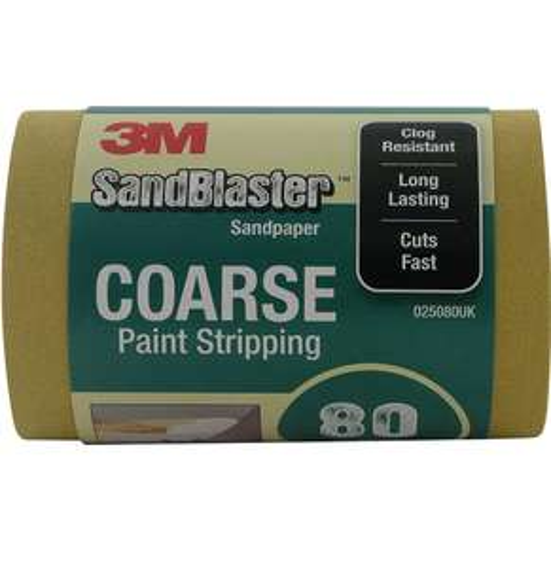 3M Sandpaper (5 metres) Abrasive Roll P80 Coarse Grit 'Paint Stripping' - £4.83 (+£4.49 Non-Prime) @ Amazon