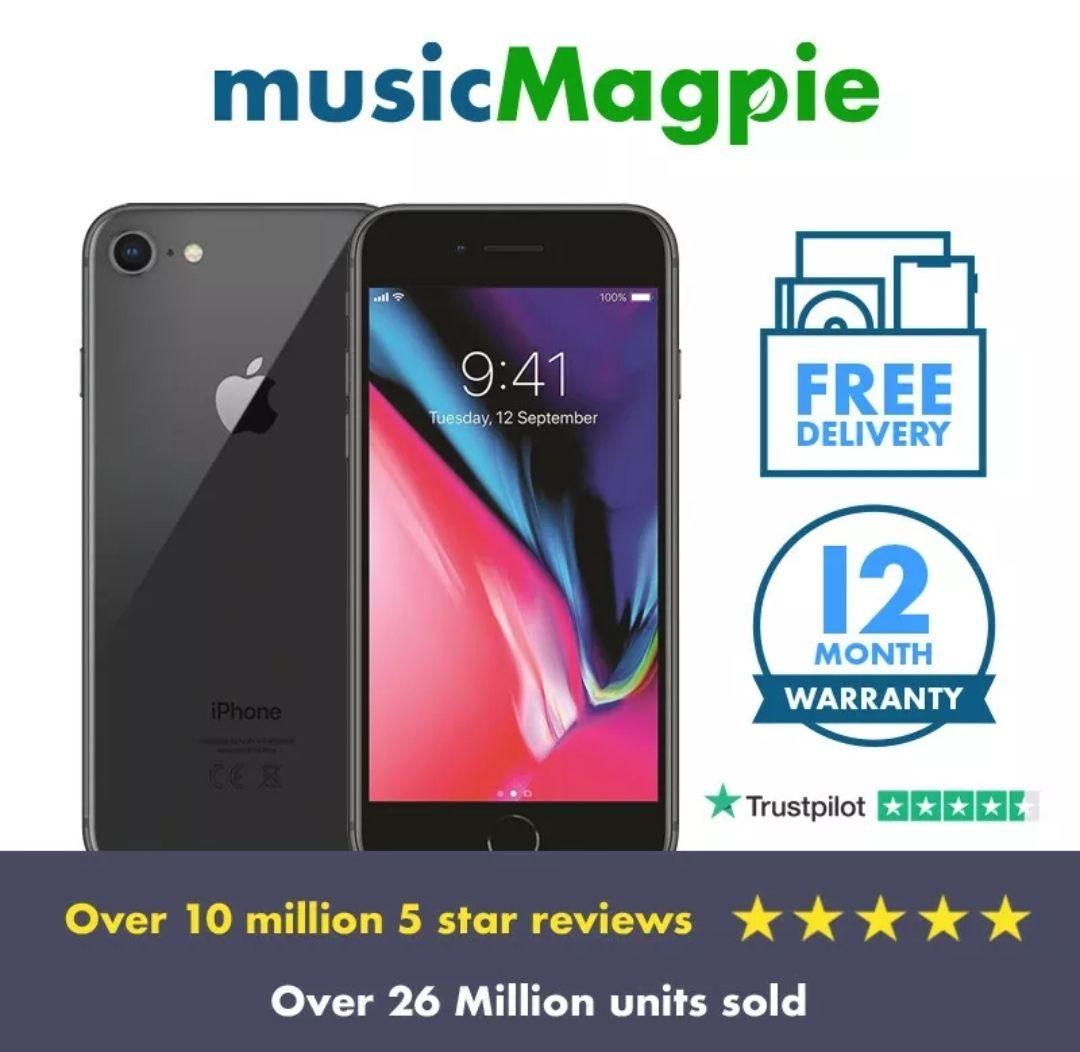 Apple iPhone 8 - Smartphone - 64GB - 02 - Used 'Good '- Black £132.34 @ musicmagpie / eBay
