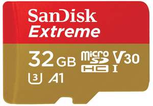32GB - Sandisk Extreme microSDhC Memory Card with A1 App Performance up to 100/60MB/s, C10, U3, V30 £5.88 Prime/+£4.49 Non Prime @ Amazon