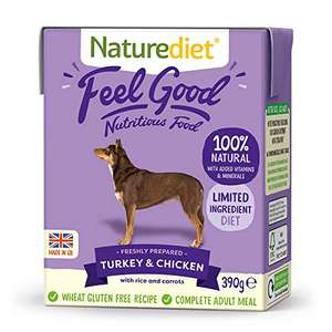 Naturediet 'Feel Good' Turkey and Chicken Complete Wet Food 390g x 18 - £6.71 (+£4.49 Non-Prime) S&S £6.04 @ Amazon