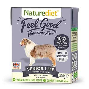 Naturediet - Feel Good Wet Dog Food, Natural and Nutritionally Balanced Senior-Lite, 390g (Pack of 18) £6.91 + £4.49 NP (£6.22 S&S) @ Amazon