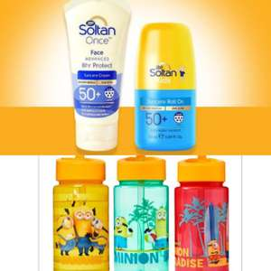 Soltan ONCE Sun protection Half Price with code + Free Minion Water Bottle When You Buy 2 Soltan Products (£1.50 collection) @ Boots