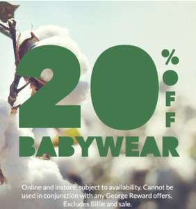 20% off Baby wear- incl outfits, Tops & T shirts,hat, jeans accessories etc. Free click & collect at Asda George