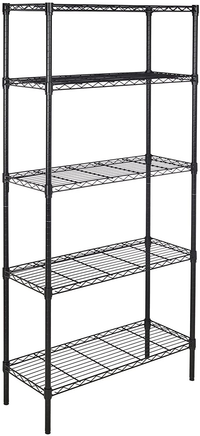 Amazon Basics 5-Shelf Shelving Unit, up to 160 kg per shelf, Black - £29.77 @ Amazon
