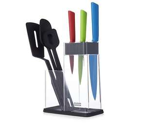 Kuhn Rikon Colori 7 Piece Kitchen Knife & Utensil Set In Caddy - £24.98 / £29.93 delivered @ QVC