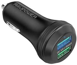 RAVPower 40W 6A Dual USB Fast Charging Car Adapter - £6.74 Prime (+ £4.49 Non Prime) Sold by RAVPower official and Fulfilled by Amazon