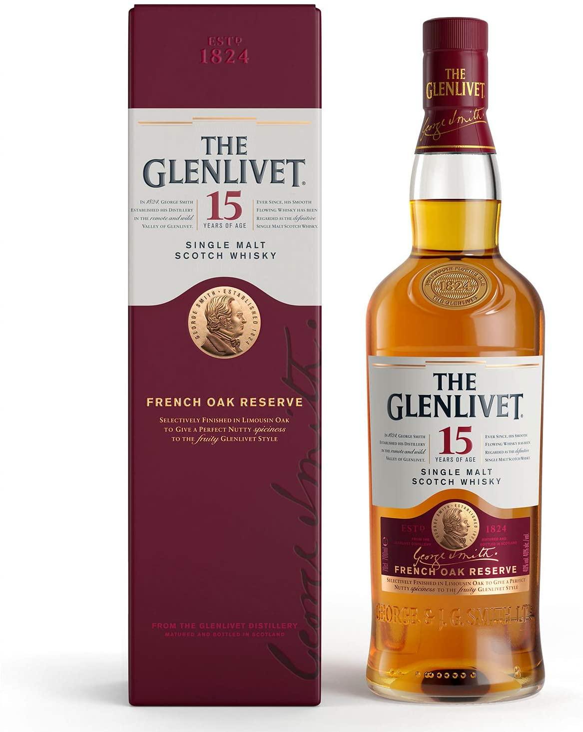 Glenlivet 15 yr single malt whisky 70cl with gift box for £37.99 delivered at Amazon