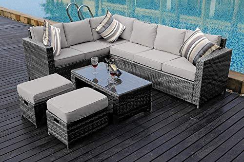 YAKOE 50110 New Conservatory Modular 8 Seater Rattan Corner Sofa Set - Grey £649.99 @ Amazon