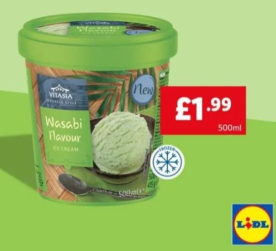 Wasabi Wonder or Ginger Lemon Ice cream 500ml £1.99 @ LIDL