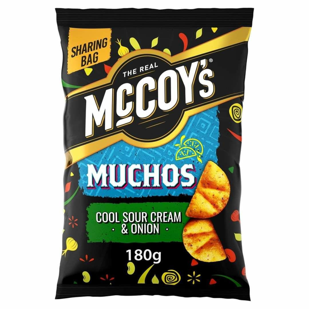 McCoy's Muchos Tortilla Chips Sour Cream & Onion/Nacho Cheese/Smoky Chilli Chicken 180g Packs are 99p @ Asda