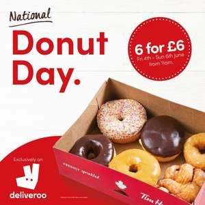 Any 6 Donuts For £6 (+Fees from 99p Delivery/50p Service) @ Tim Hortons via Deliveroo