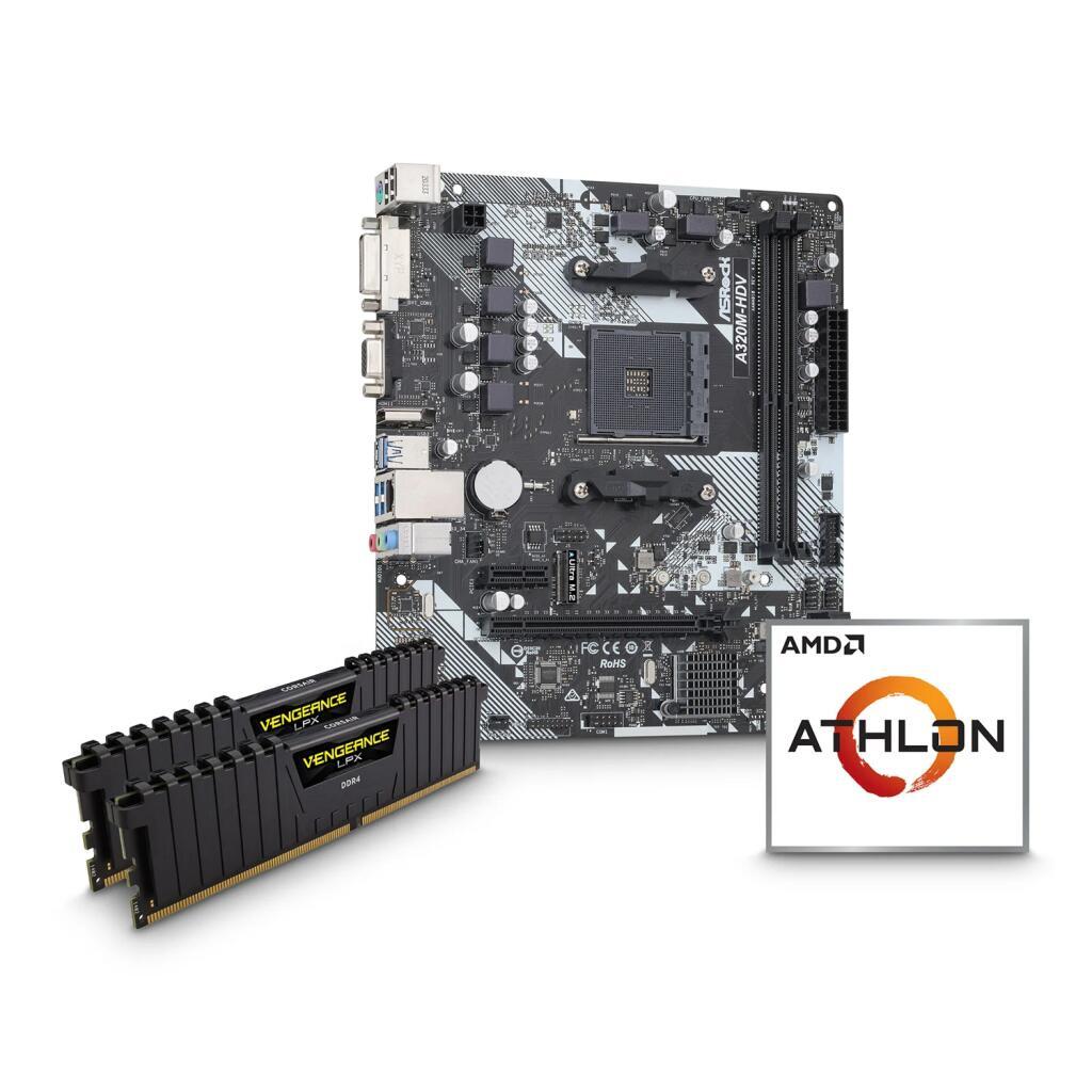 AMD Athlon 3000G CPU, ASRock A320M-HDV R4.0 Motherboard & 8GB Corsair DDR4 RAM Bundle £139.49 @ Scan
