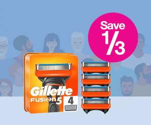 Daily Deal - Save a 1/3 on Gillette Fusion 5 Men's Razor Blade with 4 Refills - (Free click and collect) Member Deal @ Superdrug