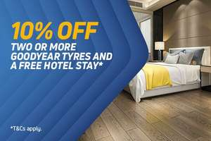 Claim a Free One Night Hotel Stay for 2 When You Buy 2 or more Goodyear Tyres + 10% off voucher @ Kwik fit