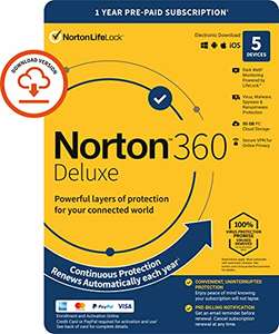 Norton 360 Deluxe 2021, Antivirus software for 5 Devices and 1-year subscription with automatic renewal £15.99 Sold by Amazon EU @ Amazon