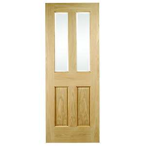 Wickes Cobham Glazed Oak 4 Panel Internal Door Now £75 + Free collection in Limited Stores @ Wickes