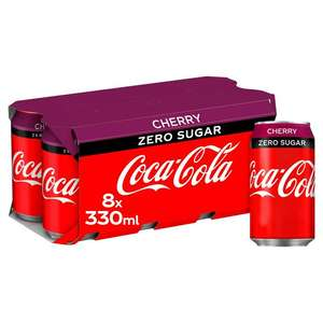 Coca-Cola Zero Sugar Cherry / Vanilla / Zero Cans 8x330ml Now £2.50 @ Asda