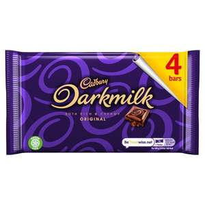 4 pack Cadbury's Darkmilk 28g size chocolate bars-69p each or 2 packs for £1 at Farmfoods Grimsby