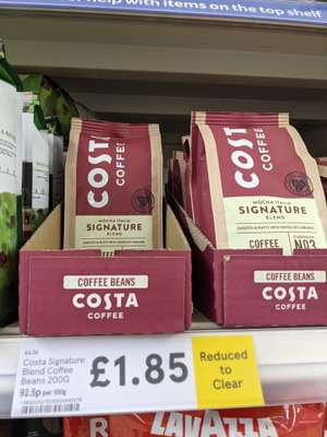 Costa Coffee Signature Blend Coffee Beans 200g reduced to £1.85 at Tesco Willenhall