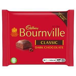 3 bar pack of Cadbury's Bournville Classic Dark Chocolate (45g size) 59p each or 2 for £1 at Farmfoods Grimsby