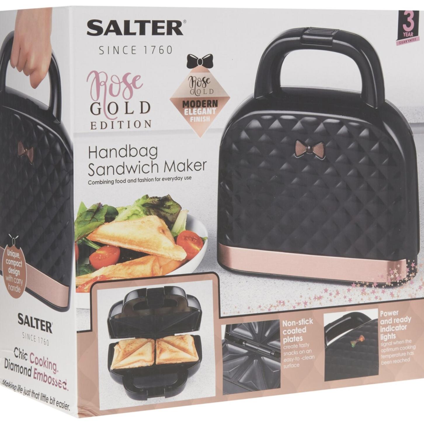 SALTER Black & Rose Gold Handbag Sandwich Maker 22x24cm - £19.99 + £1.99 Click and Collect @ TK Maxx