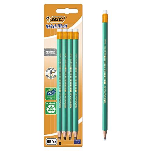BIC Evolution Original HB Graphite Pencils with Eraser 8 Pack, for £1.03 (+£4.49 Non Prime) delivered @ Amazon