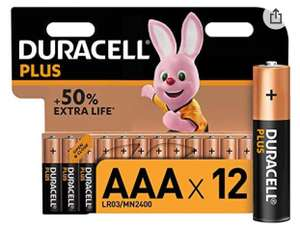 Duracell Plus AAA Alkaline Batteries [Pack of 12] £5.99 or £5.69 S&S + £4.49 Non Prime @ Amazon