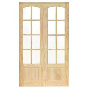 Wickes Newland Glazed Pine 8 Lite Internal French Doors - 1981mm X 1170mm - Now £100 + Free collection @ Wickes