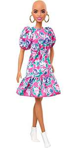 Barbie Fashionistas Doll #150 With No-Hair Look Wearing Pink Floral Dress, White Booties & Earrings £6.99 Amazon Prime (+£4.49 Non Prime)