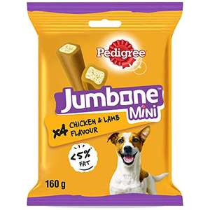 Pedigree Jumbone - Small Dog Treats with Chicken and Lamb Flavour, 1.28 kg (Pack of 8) - £4.93 (+£4.49 Non-Prime) @ Amazon